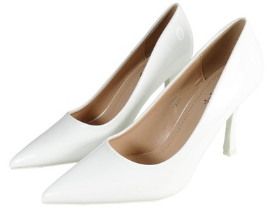 Białe szpilki buty slubne lakier eko skóra 38