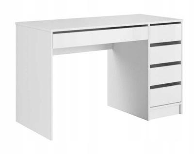 Białe nowoczesne biurko 5 szuflad prawe lewe 120cm