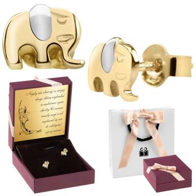 Zlaté náušnice pr. 585 Słoniki Darček s Dedicatory nápis