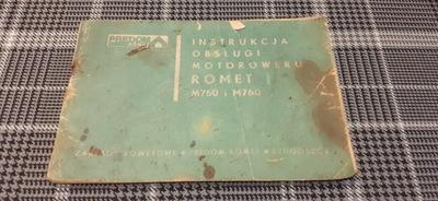ROMET M750 M760 ИНСТРУКЦИЯ КНИЖКА 1977 MOTOROWER