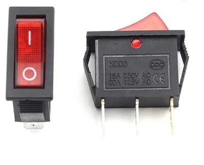 Przełącznik kołyskowy KCD3 16A 250V czerwony