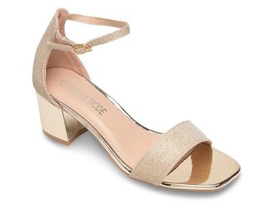 Eleganckie sandałki na słupku 6 cm Złote 40