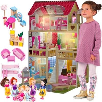 VEĽKÝ DREVENÝ domček pre bábiky, NÁBYTOK, TERASA 6 BÁBIKY
