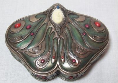 Pudełko na Biżuterię Ćma Ceramiczna Secesyjna