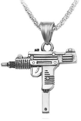 Naszyjnik Srebrny pistolet maszynowy Uzi Hip Hop