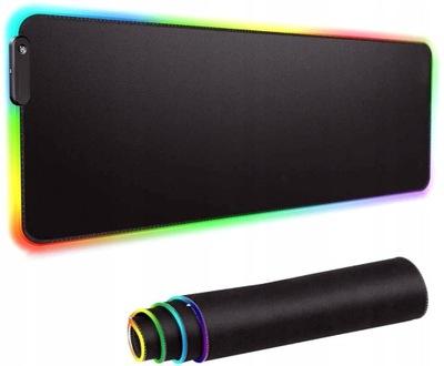 PODKŁADKA 40 x 90 CM POD KLAWIATURĘ MYSZ LED RGB