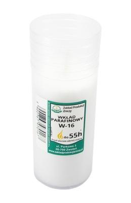 Wkłady do zniczy parafinowe DUŻY PŁOMIEŃ! 55h W-16