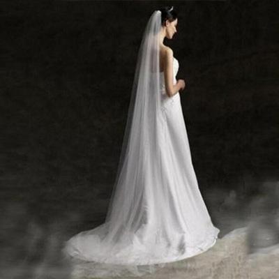 welon ślubny długi 3m gładki jednowarstwowy biały