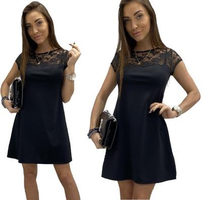 CZARNA sukienka trapez KORONKA 40 BOHO Dłuższa ?