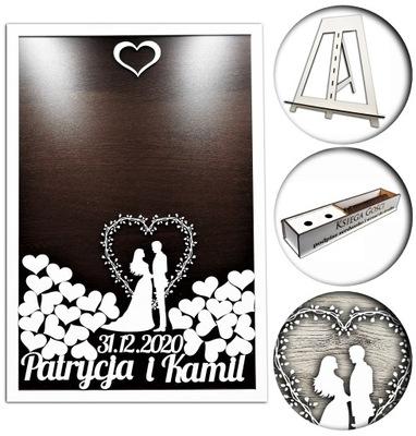 WIELKA KSIĘGA GOŚCI ślub SERCA RAMKA - wzór K8 XL