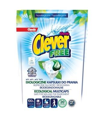 Kapsułki do prania Clever Free EKOLOGICZNE 20x18g