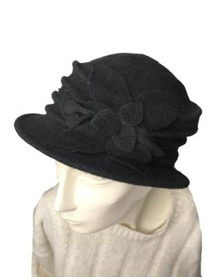 czapka damska beret jesień/zima czarny wełna