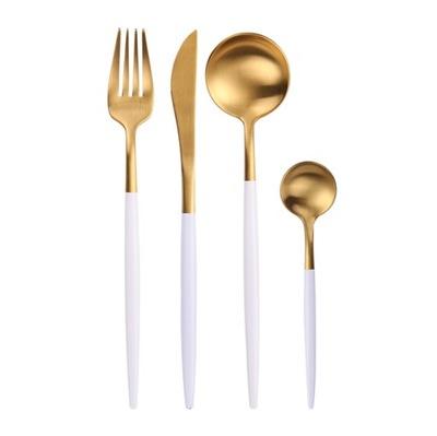 Столовые ПРИБОРЫ золото И БЕЛЫЙ комплект комплект 4EL подарок