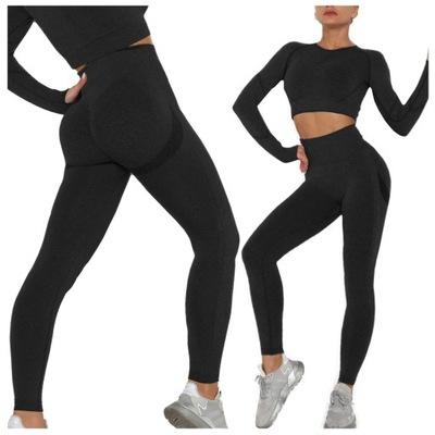 KOMPLET SPORTOWY top legginsy bezszwowe fitness S