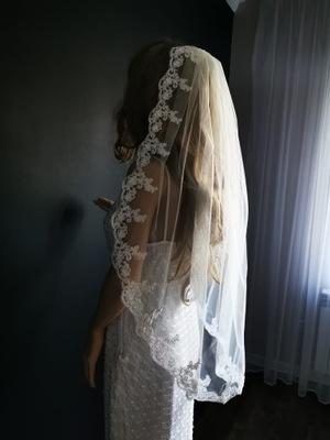 Welon ślubny biały Ivory krótki 90cm cm koronka PL