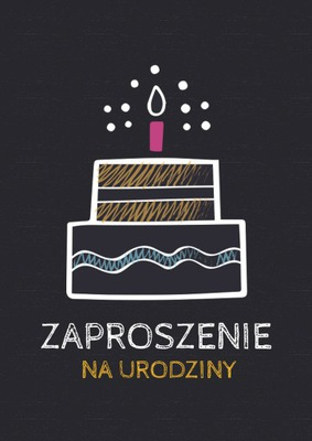 ZAPROSZENIE ZAPROSZENIA URODZINY Czarne z tortem!