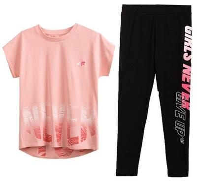 Zestaw sportowy 4F dziewczęcy t-shirt legginsy 140