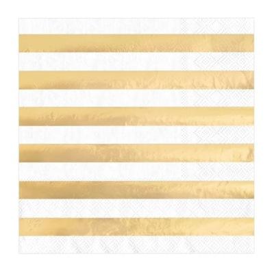 SERWETKI na URODZINY białe w złote paski 10szt