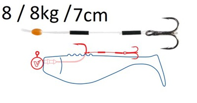 Dozbrojka sandaczowa DRAGON 8/ 8 kg / 7 cm 3 szt.