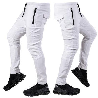 R.M Pas 86-90cm spodnie męskie JOGGERY białe Yao