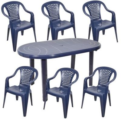 комплект 6 +1 БОЛЬШОЙ стол стулья пластик садовый