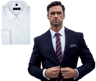 Biała Koszula Męska Desire Slim M PRODUKT POLSKI