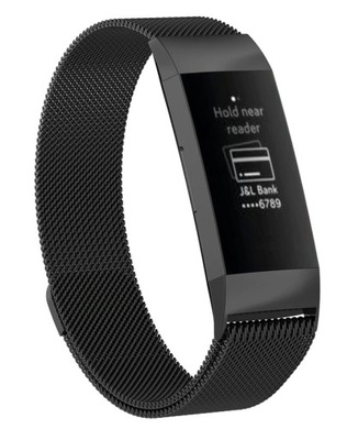 MILANESE Bransoletka FitBit CHARGE 3 / 4 Czarna