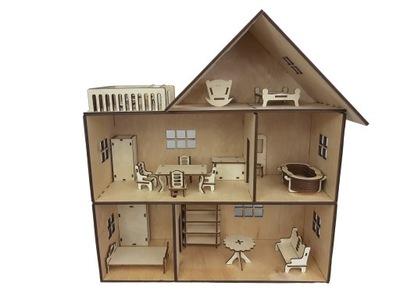 VEĽKÝ DREVENÝ domček pre bábiky VÝŤAH INTERNET