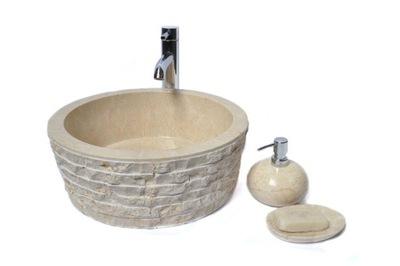 LY-M KRÉM 40 cm kamenné umývadlo na dosku IS