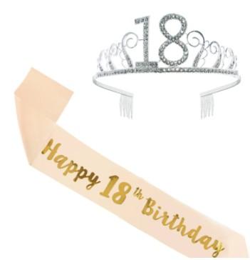 Nowa opaska 18 lat diadem korona urodziny + Szarfa