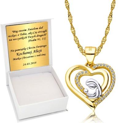 Łańcuszek Złoty Medalik Chrzest Komunia Grawer