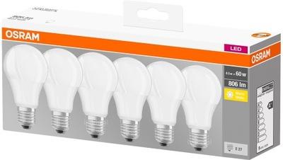 6x Лампа LED E27 A60 8 ,5 ВТ = 60 ВТ 806lm Osram