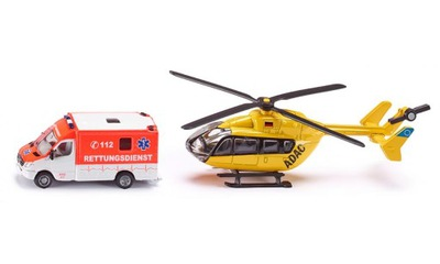 SIKU 1850 Zestaw ratownictwa Ambulans + Śmigłowiec