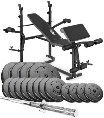 Kulturistická súprava 117 kg s lavičkou + hrazdou