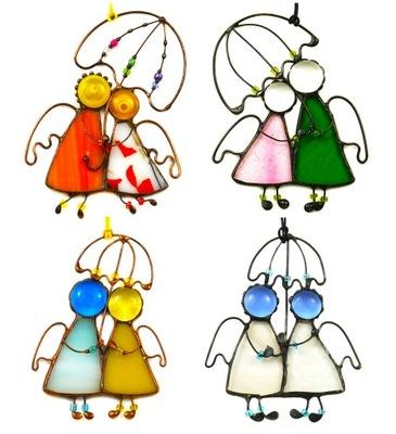 ангел пара кулон, ангел витраж разные цвета