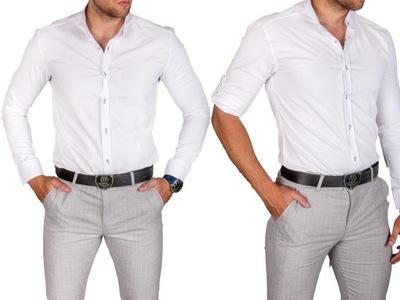 Koszula męska biała stójka img-019 rozm. M
