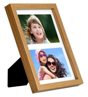 Ramka na zdjęcia galeria na 2 zdjęcia 10x15 dębowa