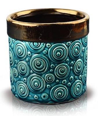 DONICZKA DO KWIATÓW osłonka Ceramiczna TURKUSOWA