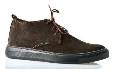 641 POLSKIE buty SKÓRA sneakersy brąz ciemny 44