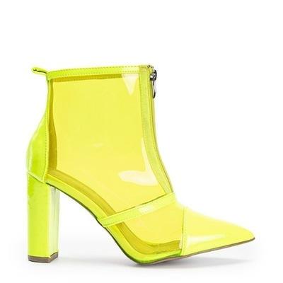 Żółte neonowe czółenka na słupku cholewka 6071 38