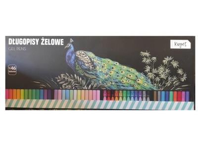 Kayet długopisy żelowe 46 kolorów brokatowe neon