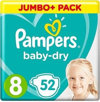Pampers Baby Dry rozmiar 8 Jumbo Pack 52 szt UK
