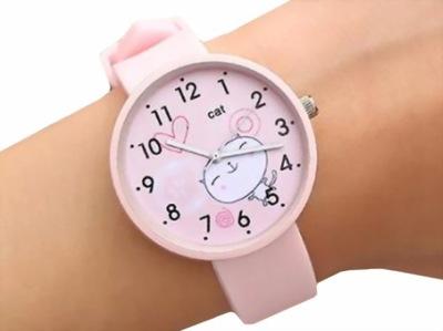 Z225 Zegarek Dziewczęcy dla Dziecka RÓŻOWY Kotek