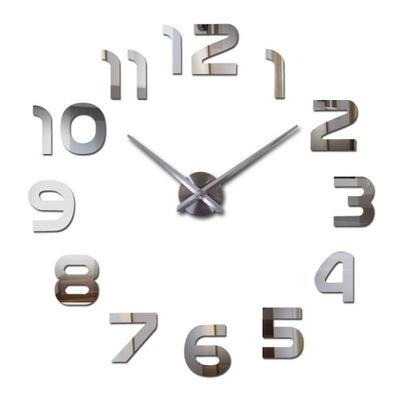 часы instagram 3D зеркальный 70 -130 серебро 3