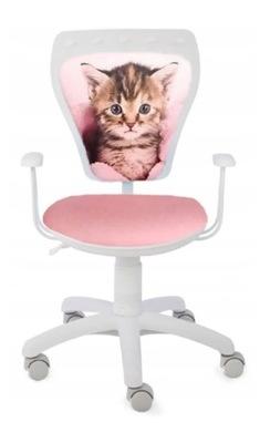 DZIECIĘCE krzesło dla dziecka białe różowy kot