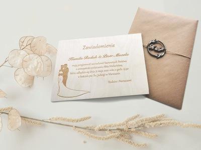 Drewniane Zaproszenia Ślubne- Eko Personalizowane