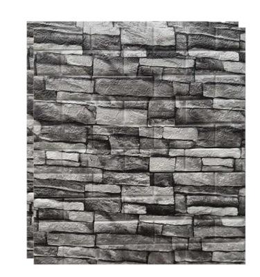 2x ОБОИ Кирпич камень Серый 3D Клей 77x70CM 1М2
