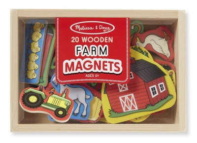 Drewniane magnesy na lodówkę Farma 20 szt.