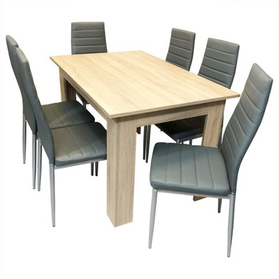 комплект стол сонома 6 серых стульев обиты
