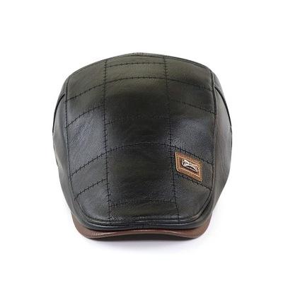 Skórzana czapka kaszkiet skórzany